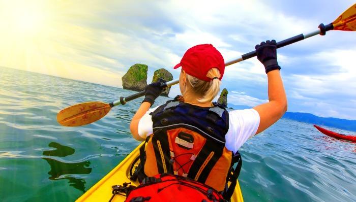 female in kayak