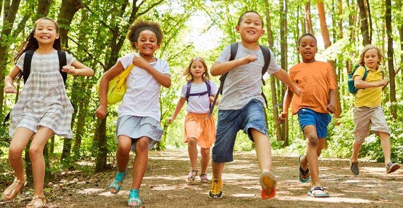 Kids running outside