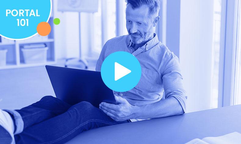 man at computer blue play